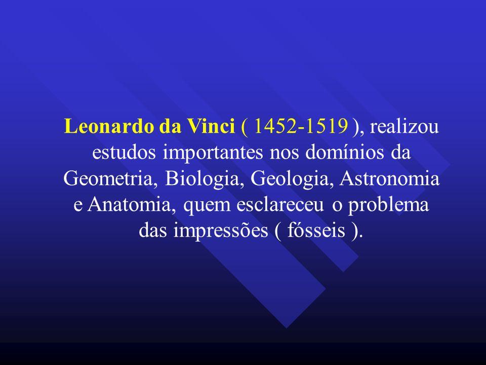 Leonardo da Vinci ( 1452-1519 ), realizou estudos importantes nos domínios da Geometria, Biologia, Geologia, Astronomia e Anatomia, quem esclareceu o problema das impressões ( fósseis ).