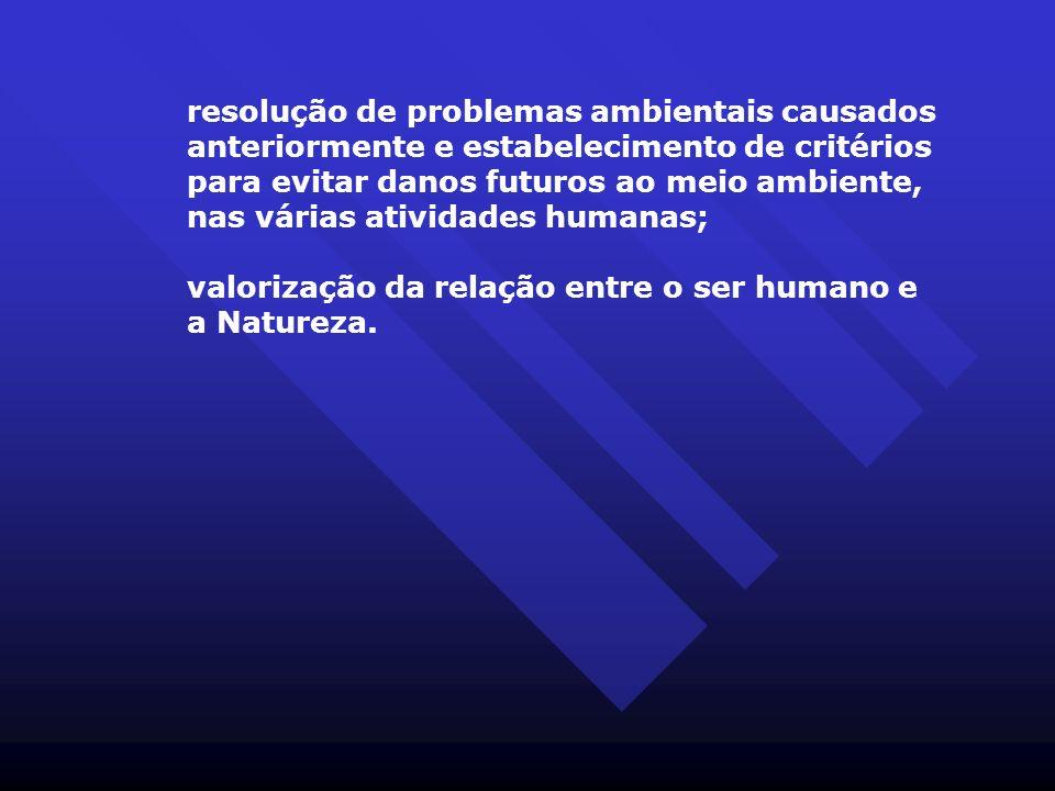 resolução de problemas ambientais causados anteriormente e estabelecimento de critérios para evitar danos futuros ao meio ambiente, nas várias atividades humanas;