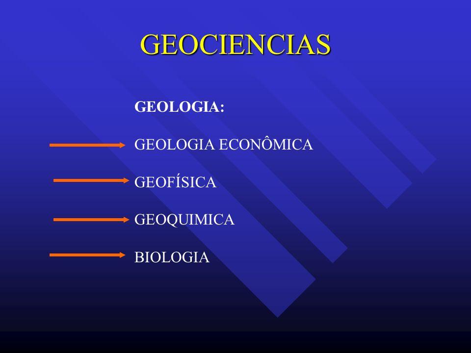 GEOCIENCIAS GEOLOGIA: GEOLOGIA ECONÔMICA GEOFÍSICA GEOQUIMICA BIOLOGIA