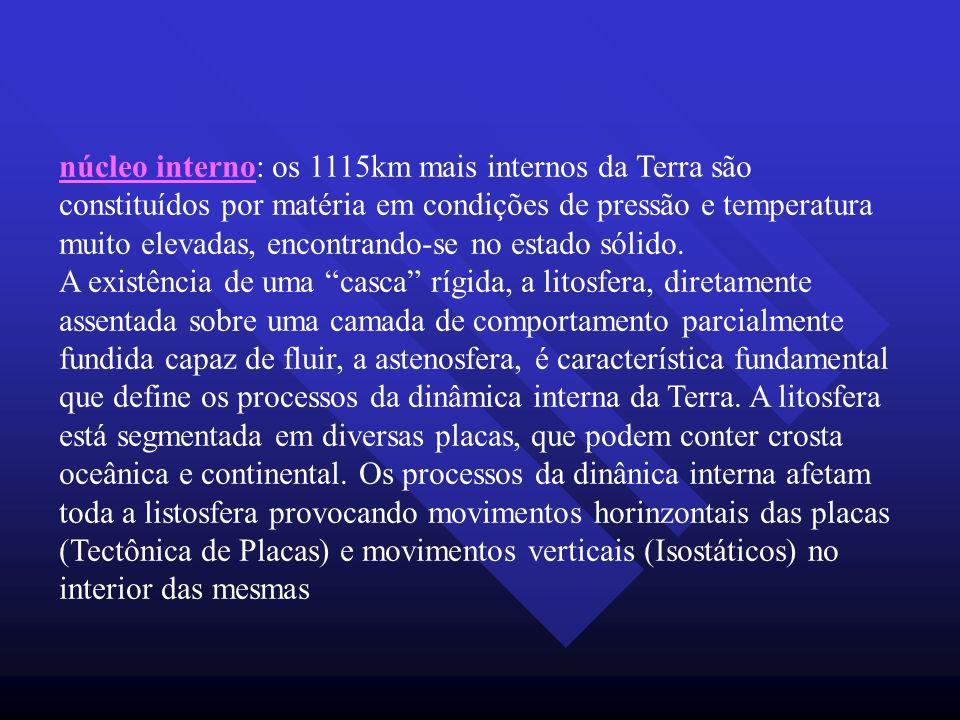 núcleo interno: os 1115km mais internos da Terra são constituídos por matéria em condições de pressão e temperatura muito elevadas, encontrando-se no estado sólido.