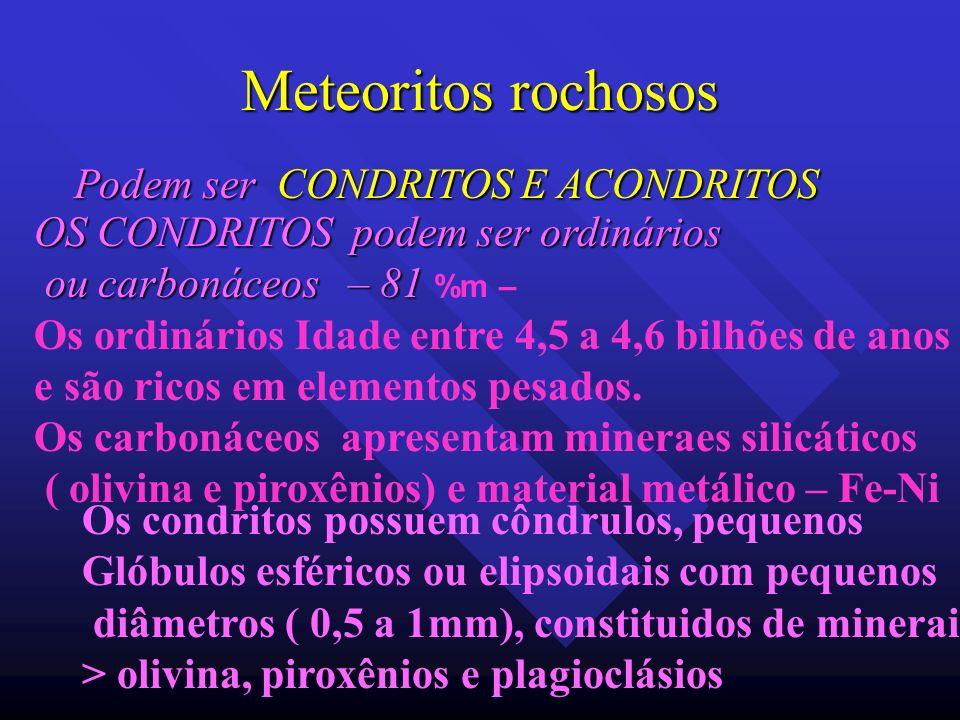 Meteoritos rochosos Podem ser CONDRITOS E ACONDRITOS