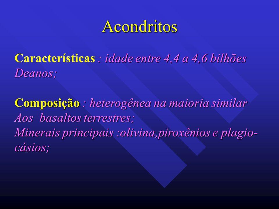 Acondritos Características : idade entre 4,4 a 4,6 bilhões Deanos;