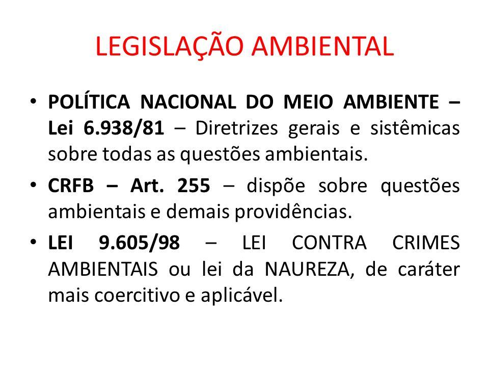 LEGISLAÇÃO AMBIENTALPOLÍTICA NACIONAL DO MEIO AMBIENTE – Lei 6.938/81 – Diretrizes gerais e sistêmicas sobre todas as questões ambientais.