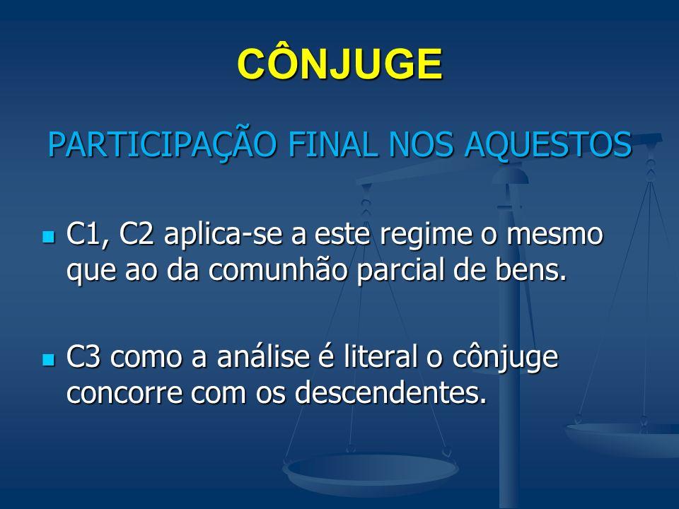 PARTICIPAÇÃO FINAL NOS AQUESTOS