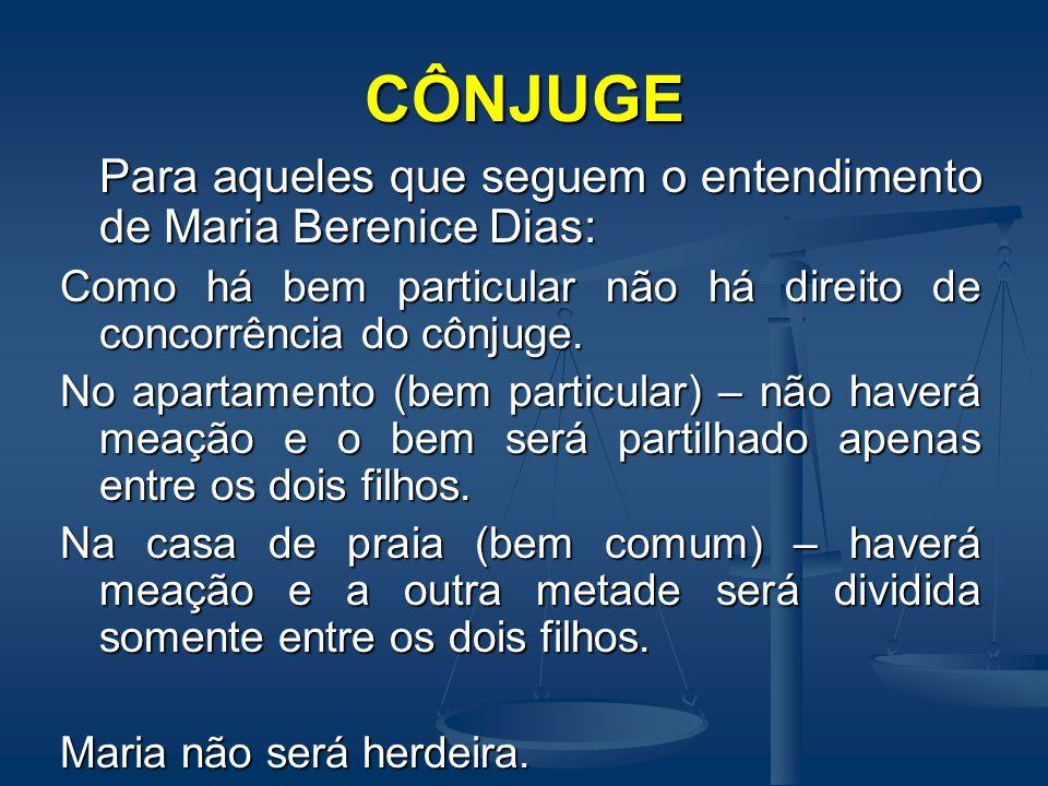 CÔNJUGE Para aqueles que seguem o entendimento de Maria Berenice Dias: