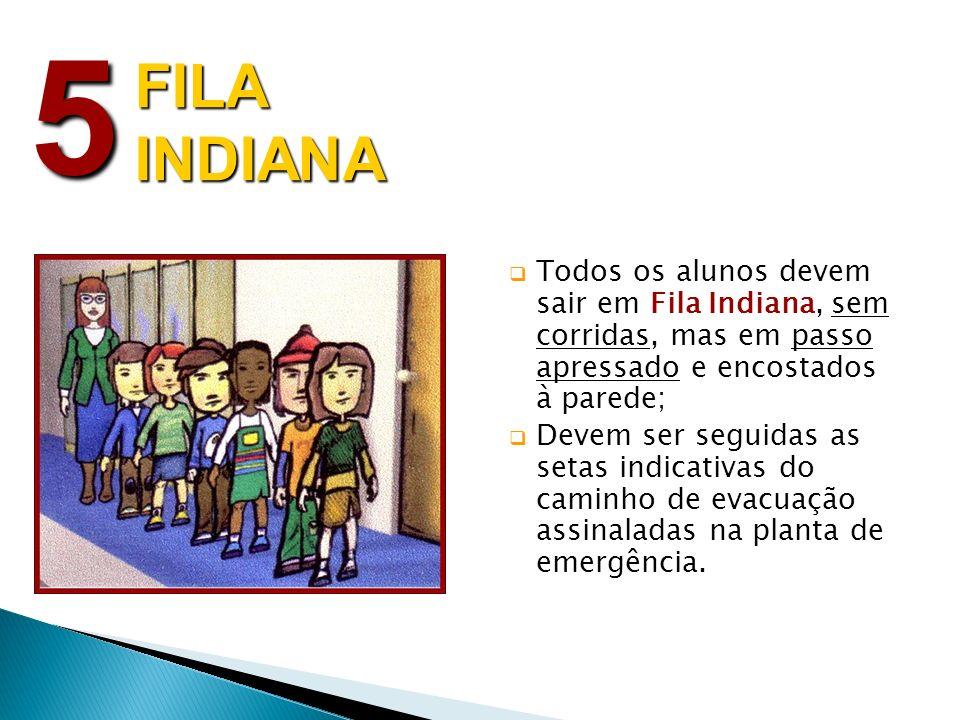 5 FILA INDIANA. Todos os alunos devem sair em Fila Indiana, sem corridas, mas em passo apressado e encostados à parede;
