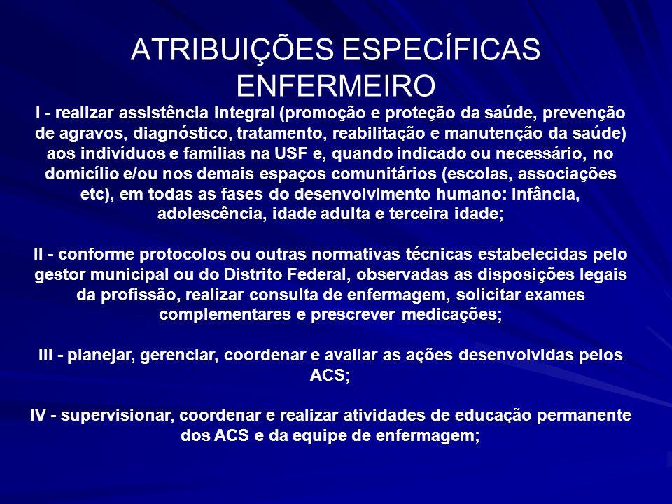 ATRIBUIÇÕES ESPECÍFICAS ENFERMEIRO