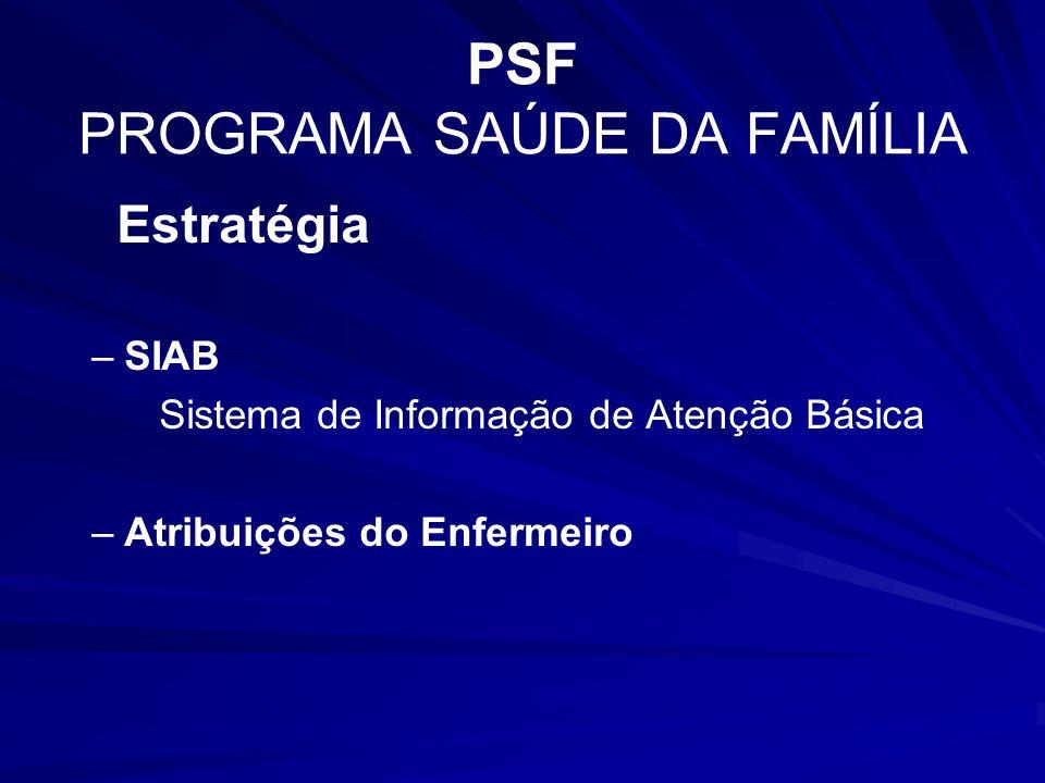 PSF PROGRAMA SAÚDE DA FAMÍLIA
