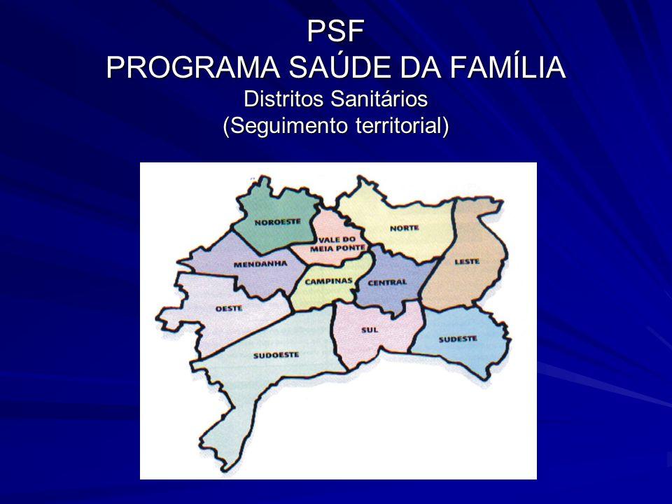 PSF PROGRAMA SAÚDE DA FAMÍLIA Distritos Sanitários (Seguimento territorial)