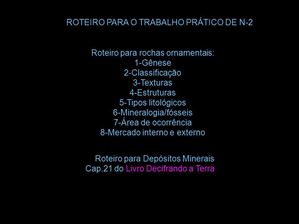 ROTEIRO PARA O TRABALHO PRÁTICO DE N-2