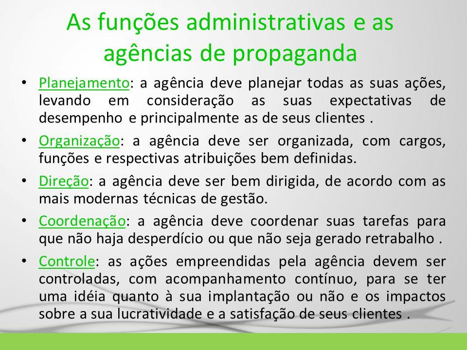 As funções administrativas e as agências de propaganda