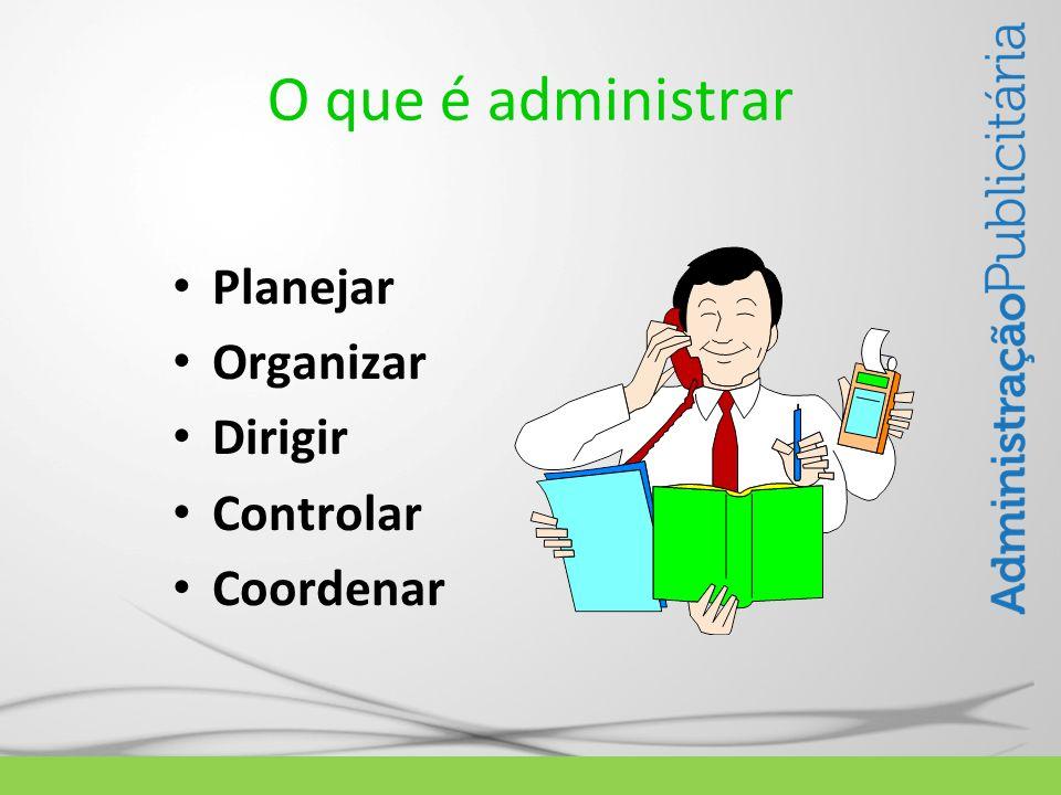 O que é administrar Planejar Organizar Dirigir Controlar Coordenar