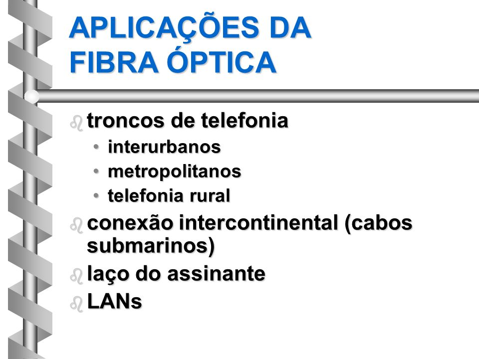 APLICAÇÕES DA FIBRA ÓPTICA