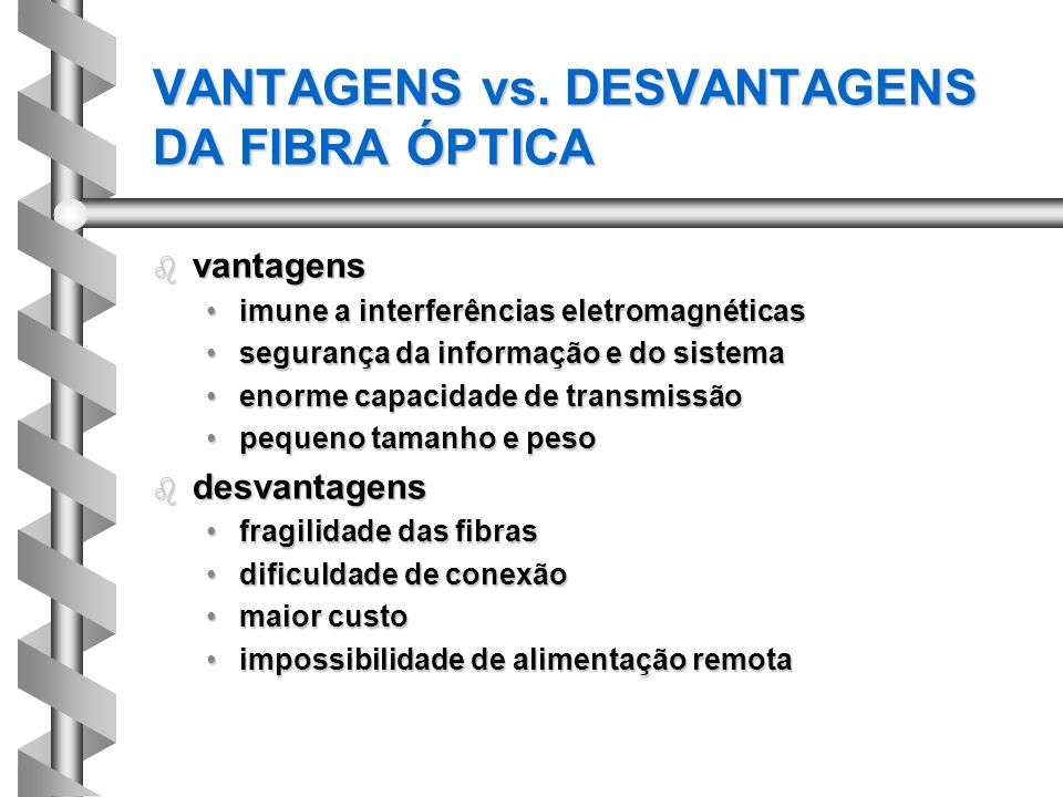 VANTAGENS vs. DESVANTAGENS DA FIBRA ÓPTICA
