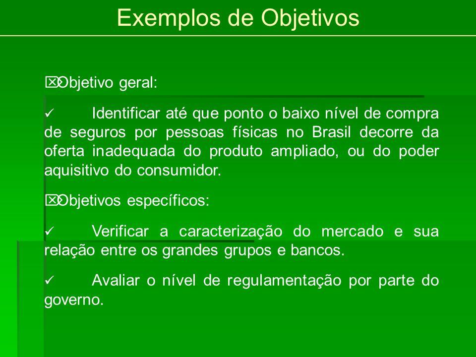 Exemplos de Objetivos Objetivo geral: