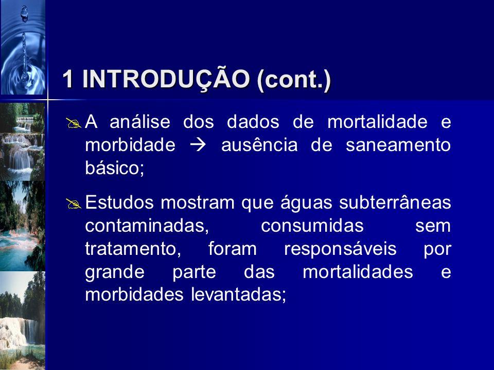 1 INTRODUÇÃO (cont.) A análise dos dados de mortalidade e morbidade  ausência de saneamento básico;