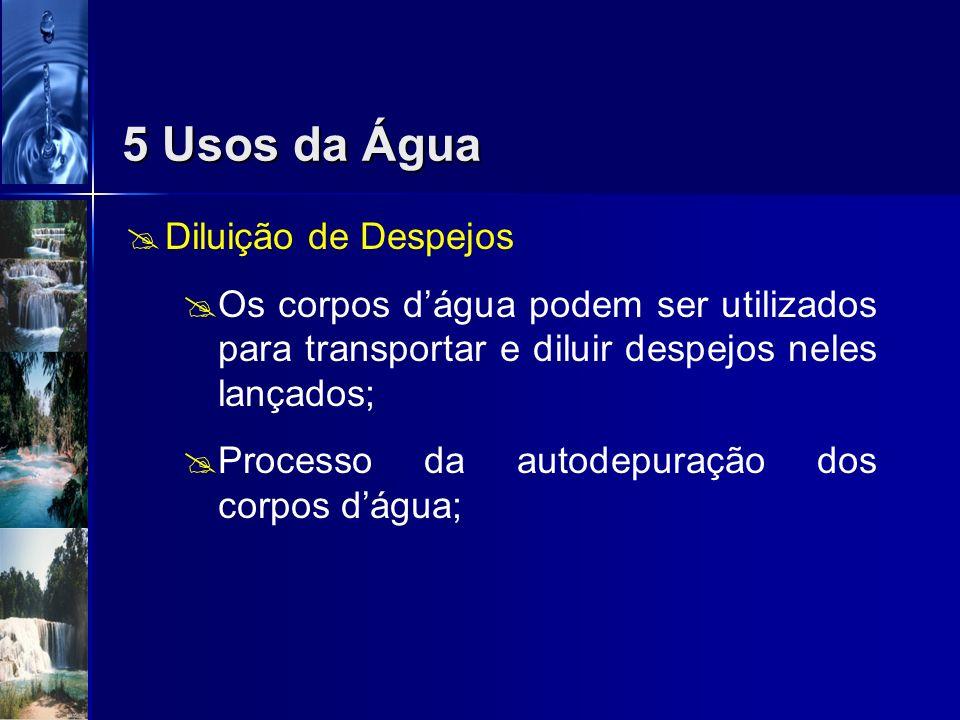 5 Usos da Água Diluição de Despejos