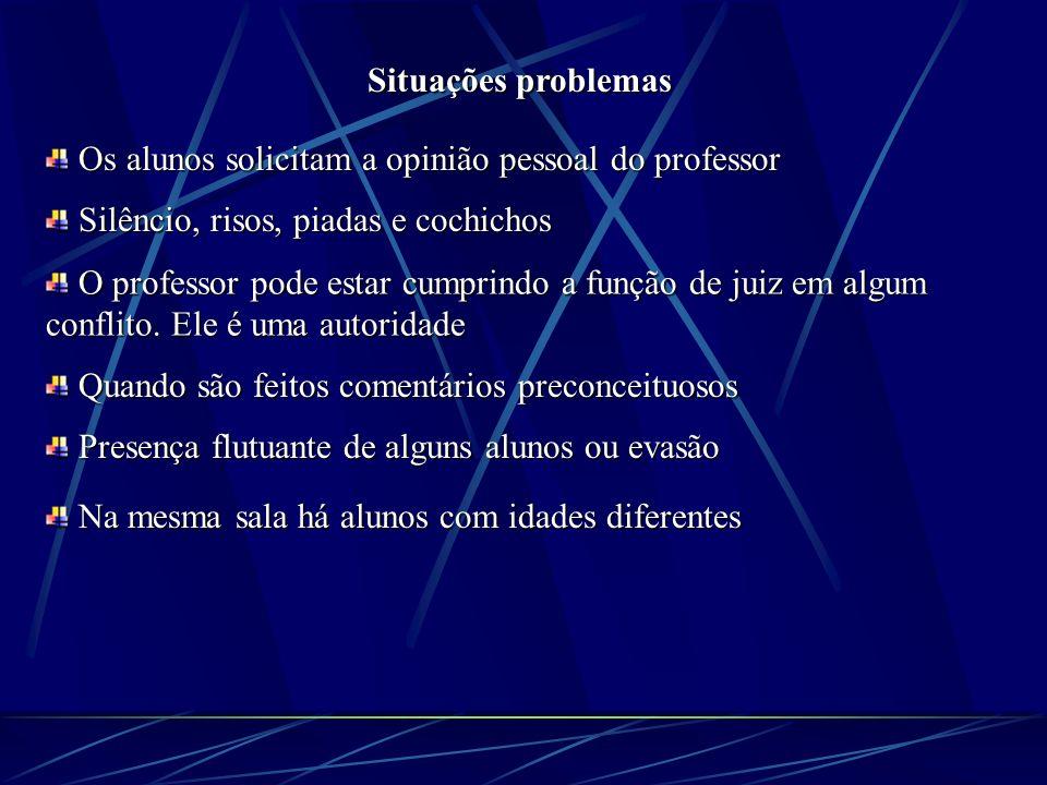 Situações problemas Os alunos solicitam a opinião pessoal do professor. Silêncio, risos, piadas e cochichos.