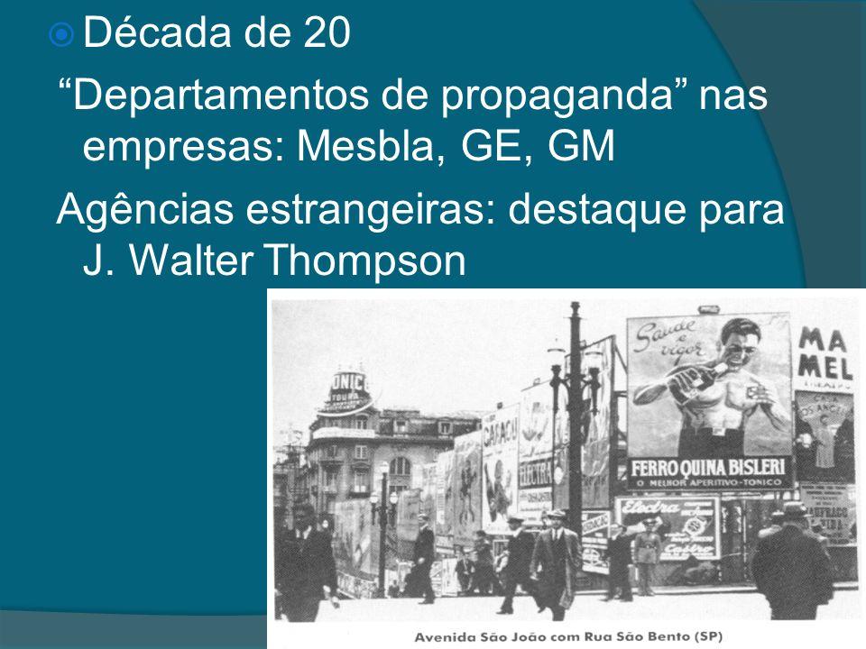 Década de 20 Departamentos de propaganda nas empresas: Mesbla, GE, GM.
