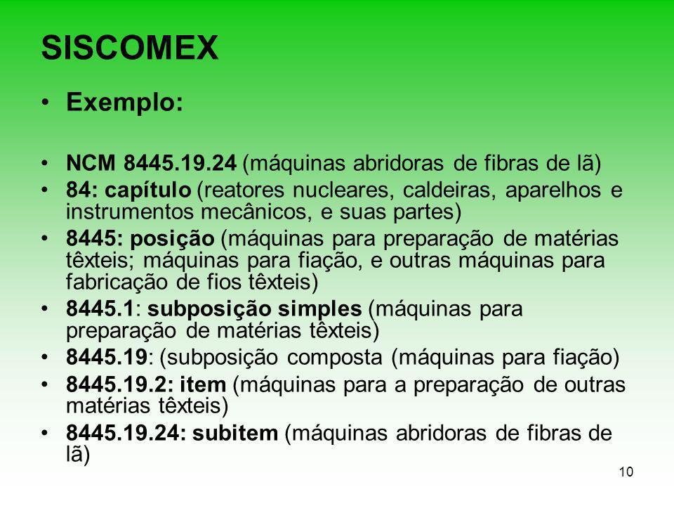 SISCOMEX Exemplo: NCM 8445.19.24 (máquinas abridoras de fibras de lã)