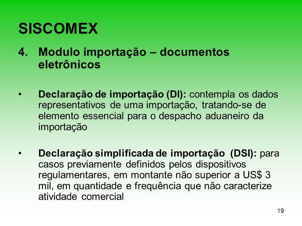 SISCOMEX Modulo importação – documentos eletrônicos