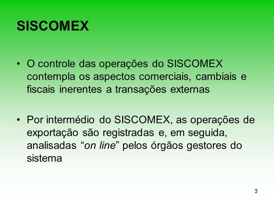 SISCOMEX O controle das operações do SISCOMEX contempla os aspectos comerciais, cambiais e fiscais inerentes a transações externas.
