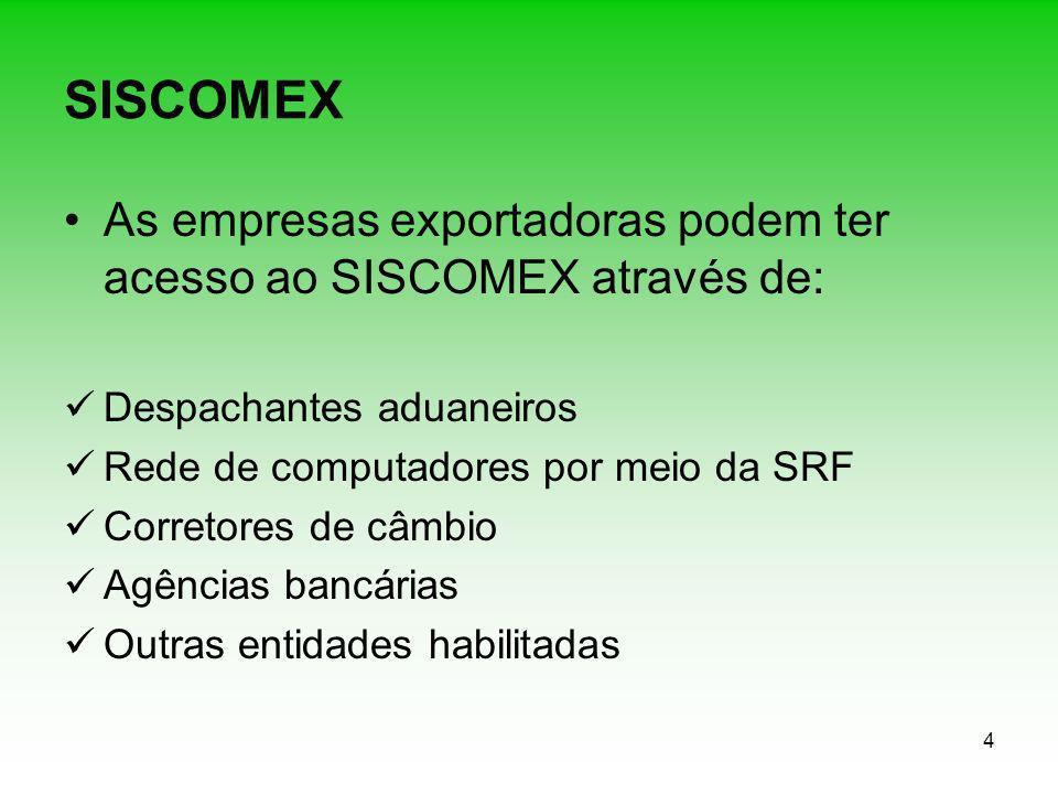 SISCOMEX As empresas exportadoras podem ter acesso ao SISCOMEX através de: Despachantes aduaneiros.