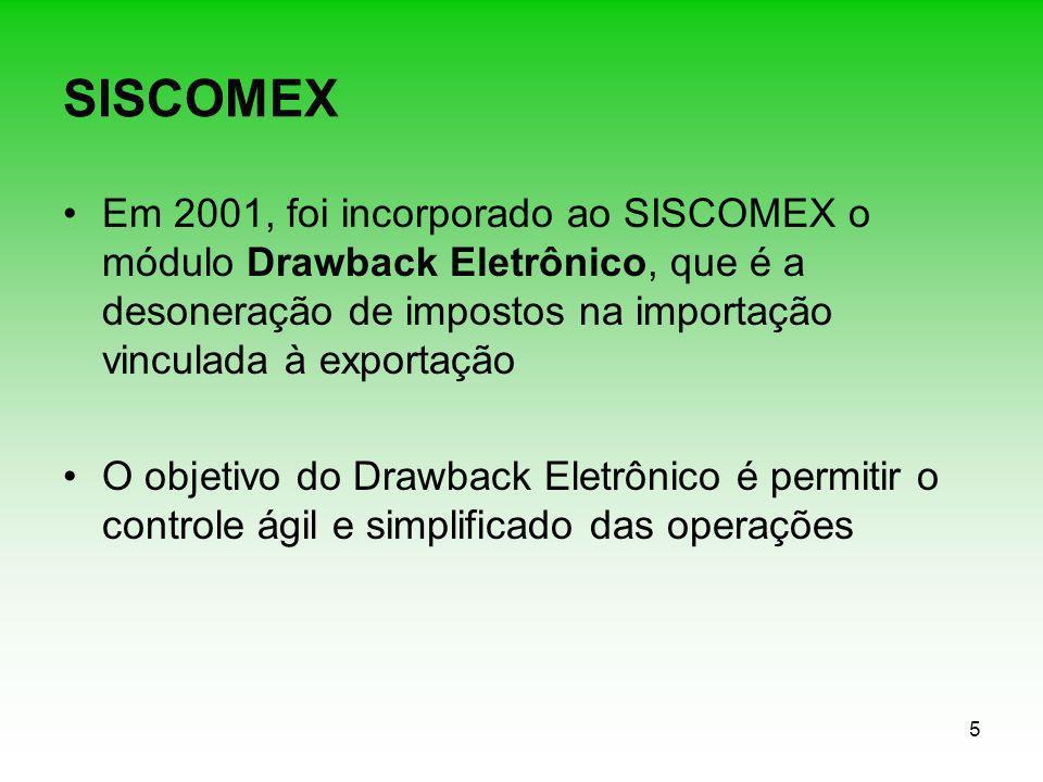 SISCOMEX Em 2001, foi incorporado ao SISCOMEX o módulo Drawback Eletrônico, que é a desoneração de impostos na importação vinculada à exportação.