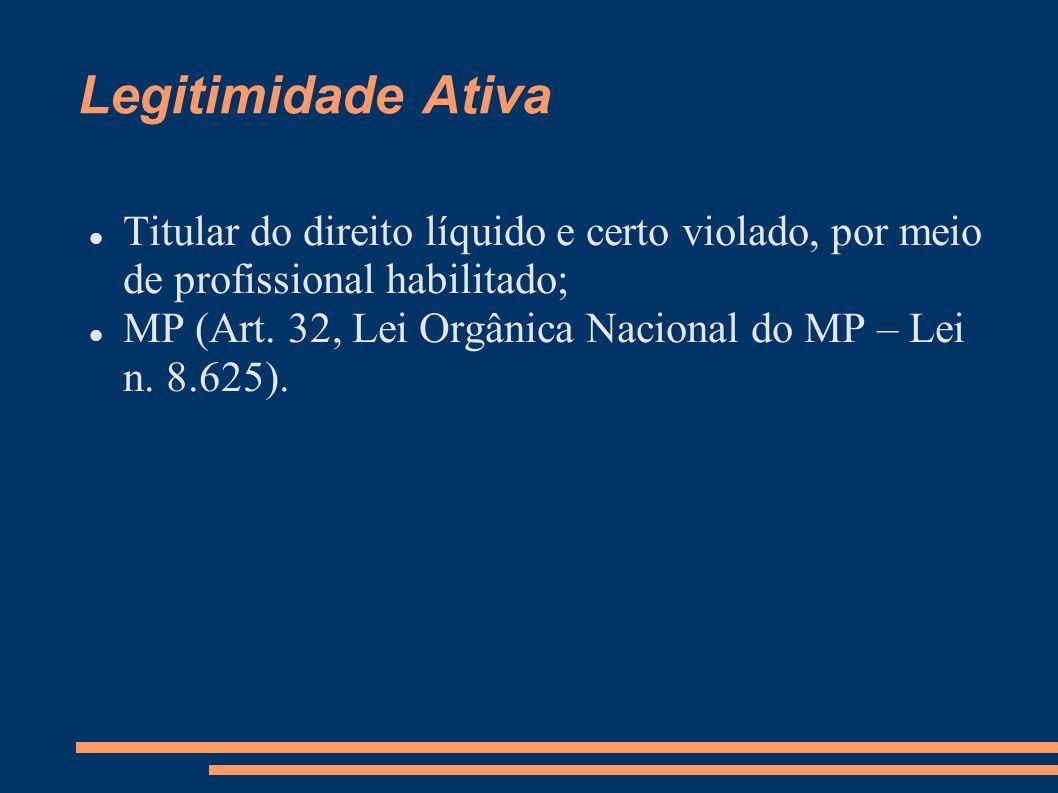 Legitimidade Ativa Titular do direito líquido e certo violado, por meio de profissional habilitado;