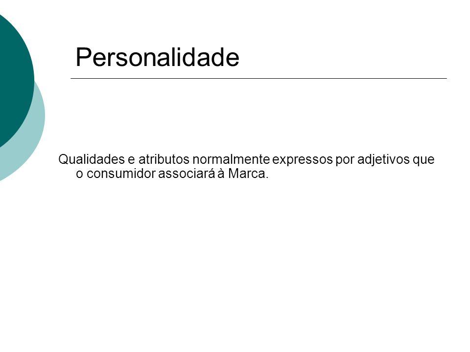 Personalidade Qualidades e atributos normalmente expressos por adjetivos que o consumidor associará à Marca.
