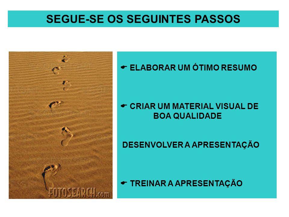 SEGUE-SE OS SEGUINTES PASSOS