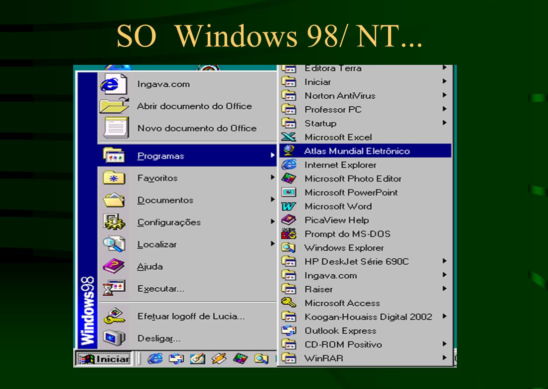 SO Windows 98/ NT... Pof. Marcelo