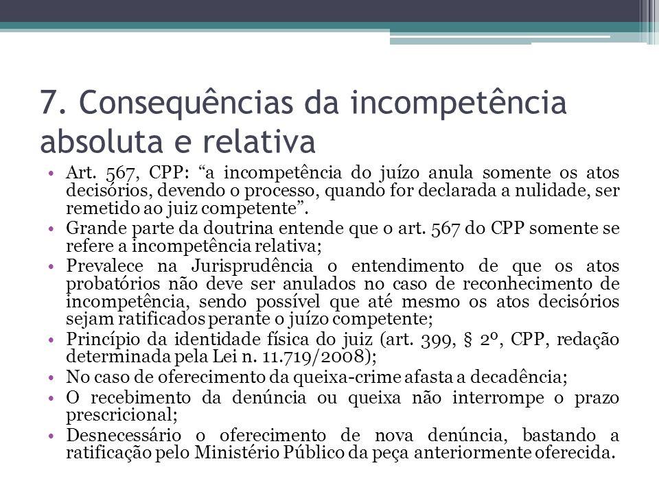 7. Consequências da incompetência absoluta e relativa