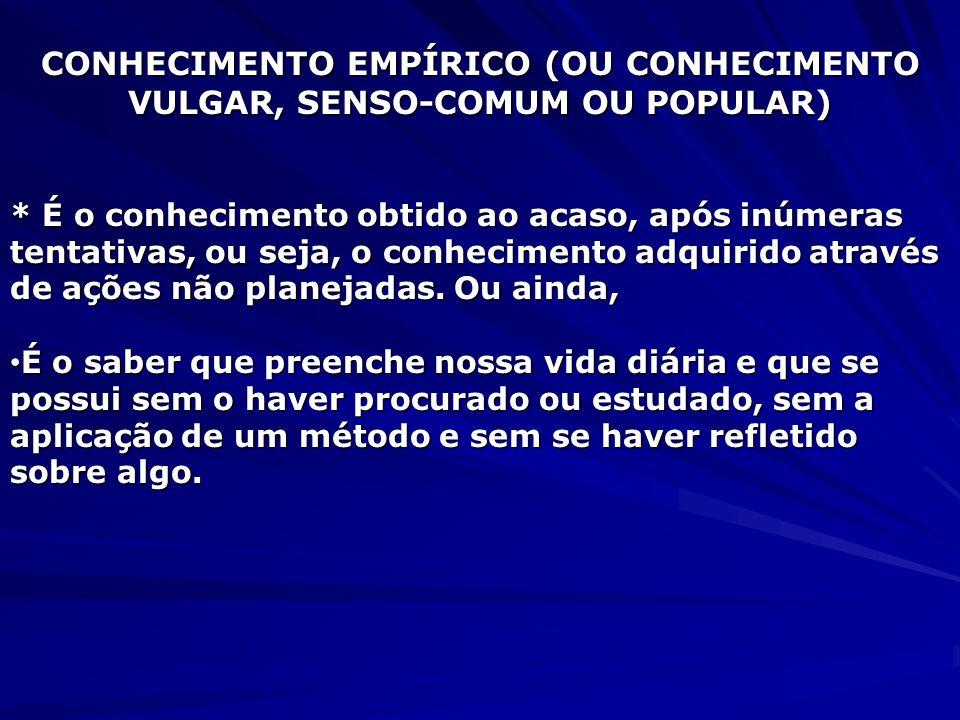 CONHECIMENTO EMPÍRICO (OU CONHECIMENTO VULGAR, SENSO-COMUM OU POPULAR)