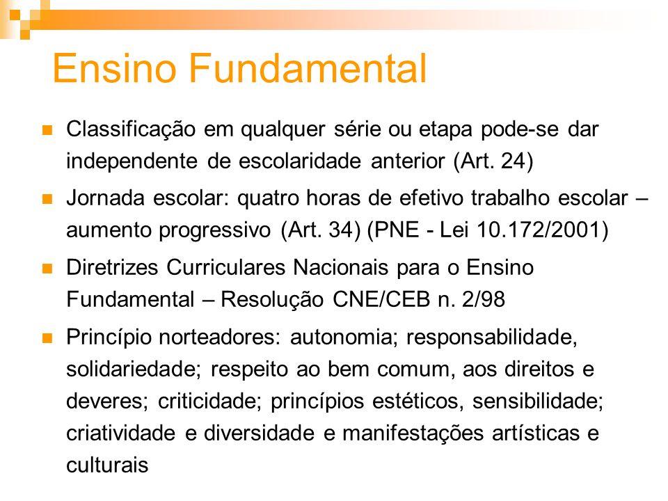 Ensino FundamentalClassificação em qualquer série ou etapa pode-se dar independente de escolaridade anterior (Art. 24)