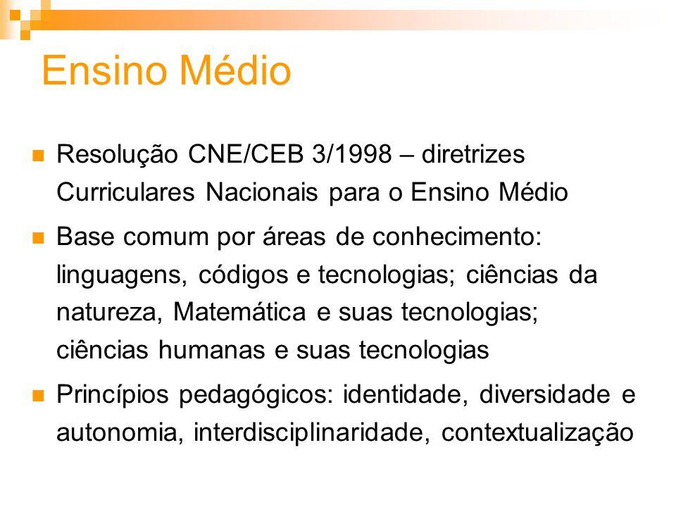 Ensino MédioResolução CNE/CEB 3/1998 – diretrizes Curriculares Nacionais para o Ensino Médio.
