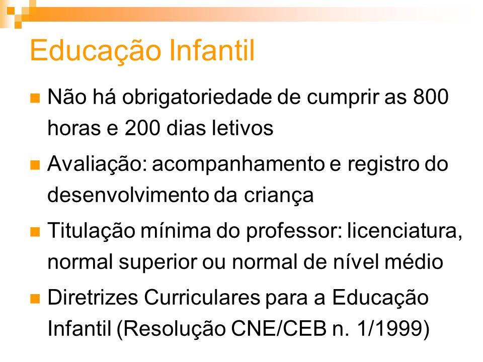 Educação InfantilNão há obrigatoriedade de cumprir as 800 horas e 200 dias letivos.