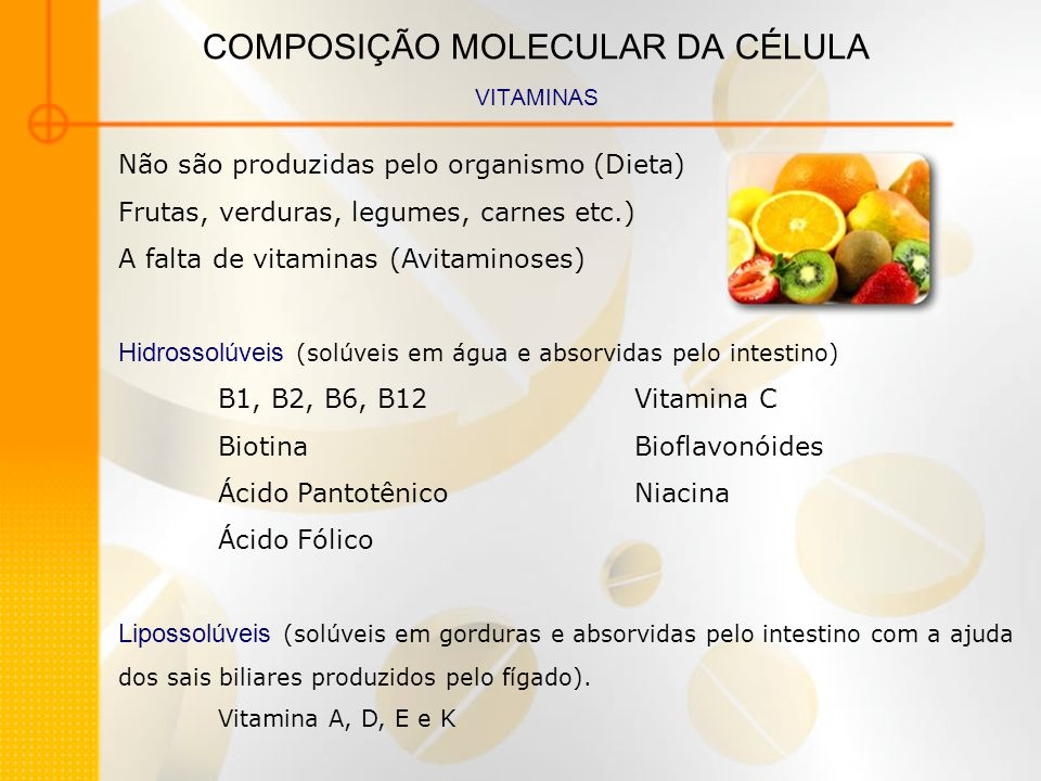 COMPOSIÇÃO MOLECULAR DA CÉLULA VITAMINAS