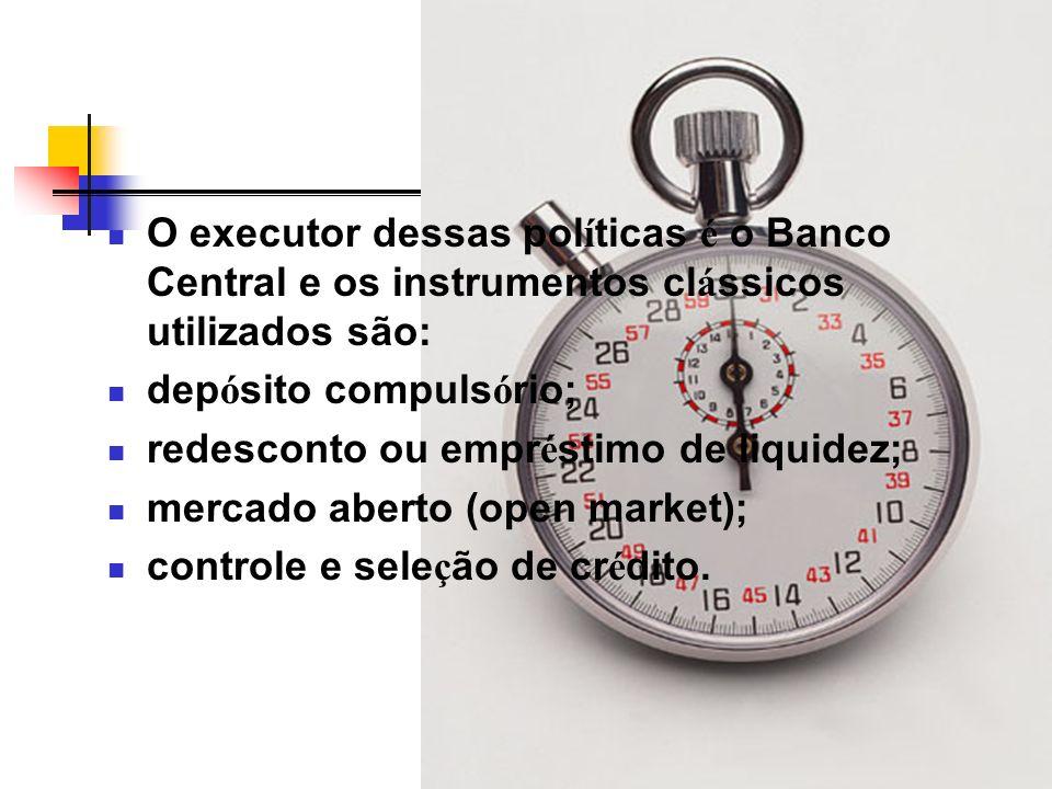 O executor dessas políticas é o Banco Central e os instrumentos clássicos utilizados são: