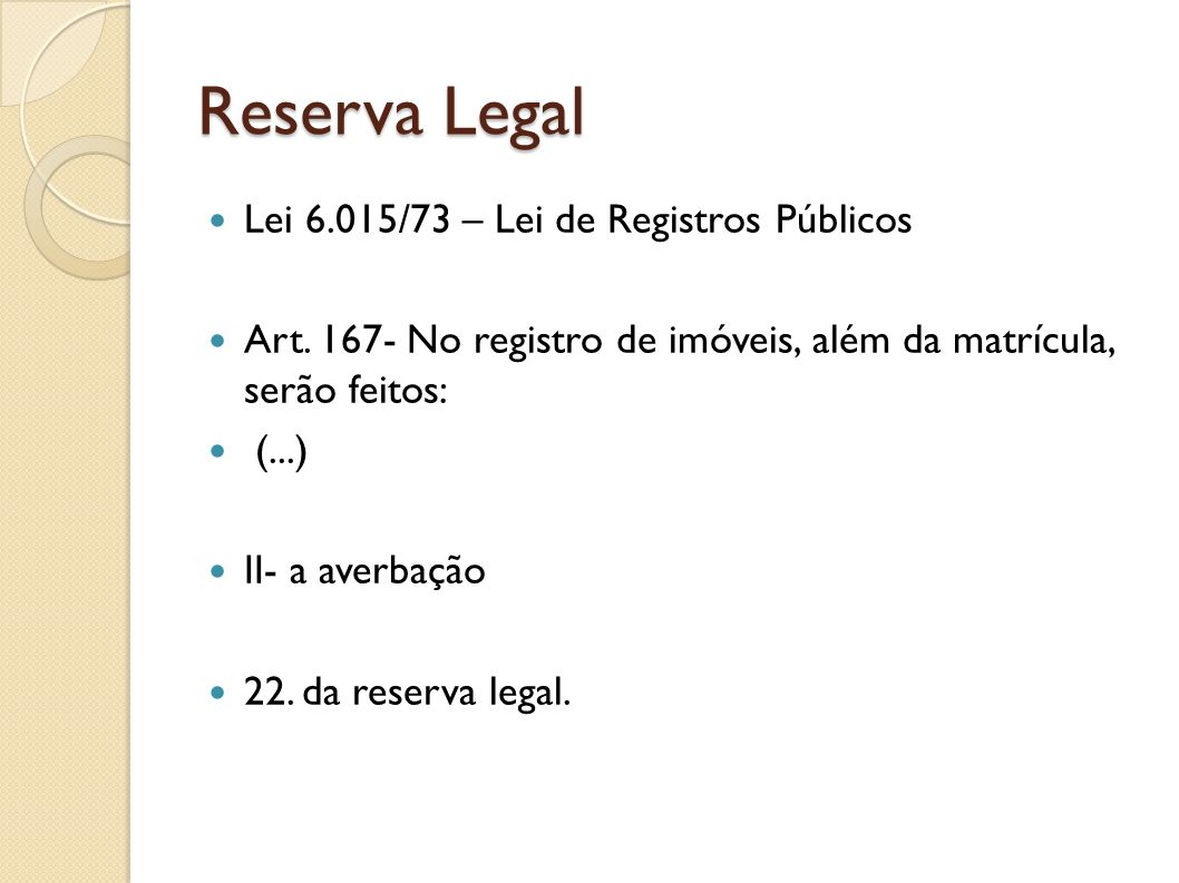Reserva Legal Lei 6.015/73 – Lei de Registros Públicos