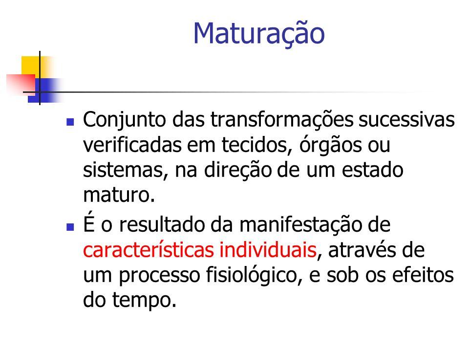 Maturação Conjunto das transformações sucessivas verificadas em tecidos, órgãos ou sistemas, na direção de um estado maturo.