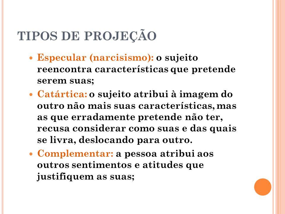 TIPOS DE PROJEÇÃO Especular (narcisismo): o sujeito reencontra características que pretende serem suas;