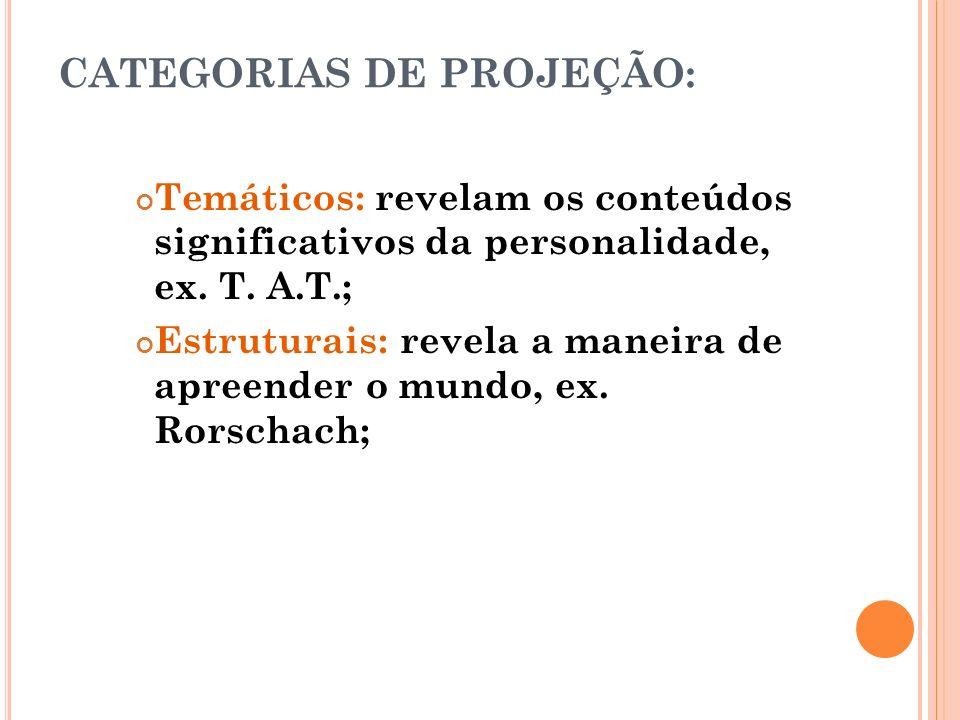 CATEGORIAS DE PROJEÇÃO: