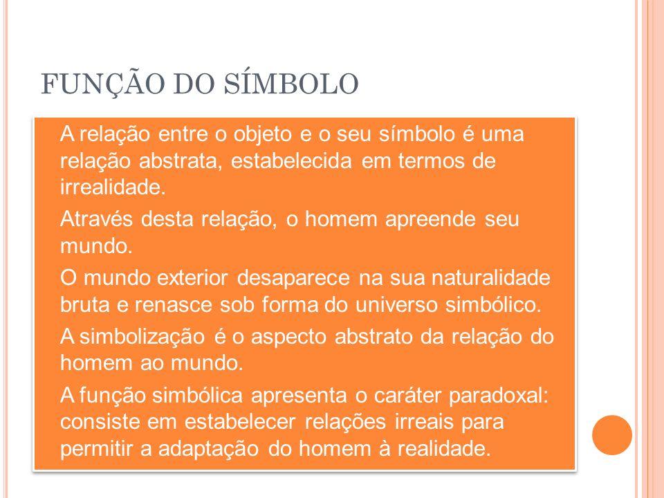 FUNÇÃO DO SÍMBOLO A relação entre o objeto e o seu símbolo é uma relação abstrata, estabelecida em termos de irrealidade.