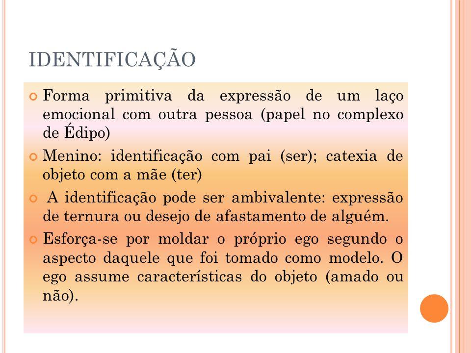 IDENTIFICAÇÃO Forma primitiva da expressão de um laço emocional com outra pessoa (papel no complexo de Édipo)