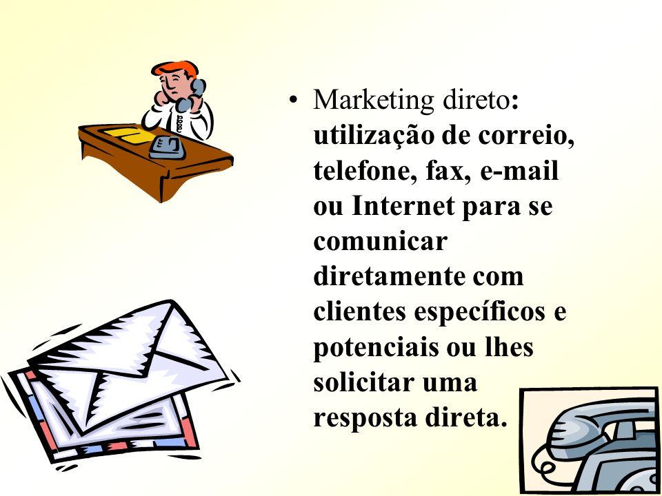 Marketing direto: utilização de correio, telefone, fax, e-mail ou Internet para se comunicar diretamente com clientes específicos e potenciais ou lhes solicitar uma resposta direta.