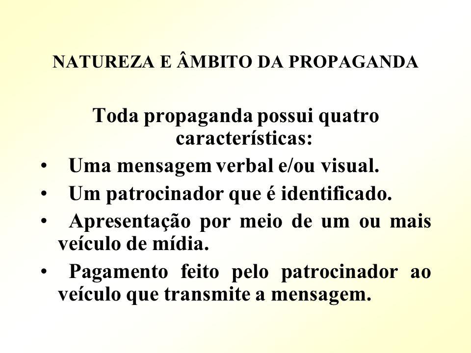 NATUREZA E ÂMBITO DA PROPAGANDA