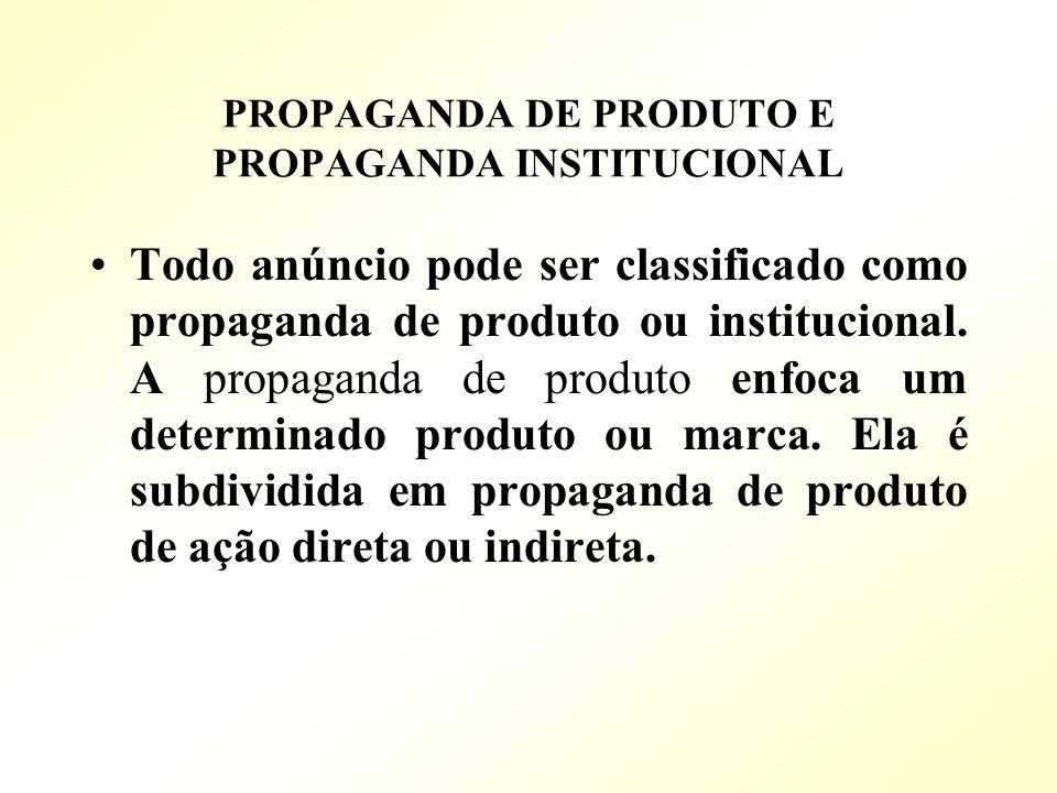 PROPAGANDA DE PRODUTO E PROPAGANDA INSTITUCIONAL