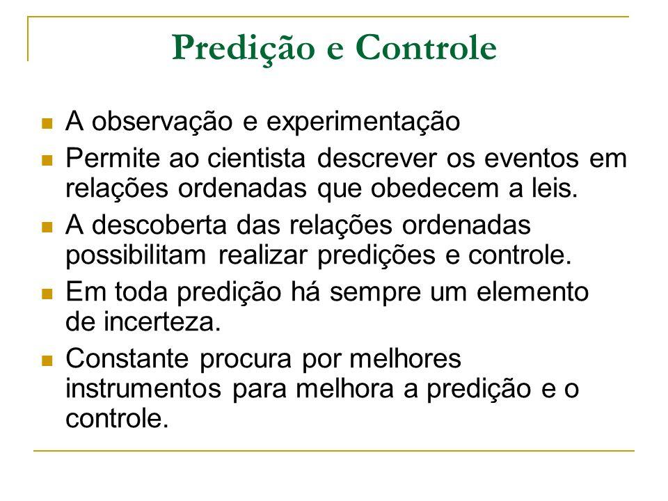 Predição e Controle A observação e experimentação