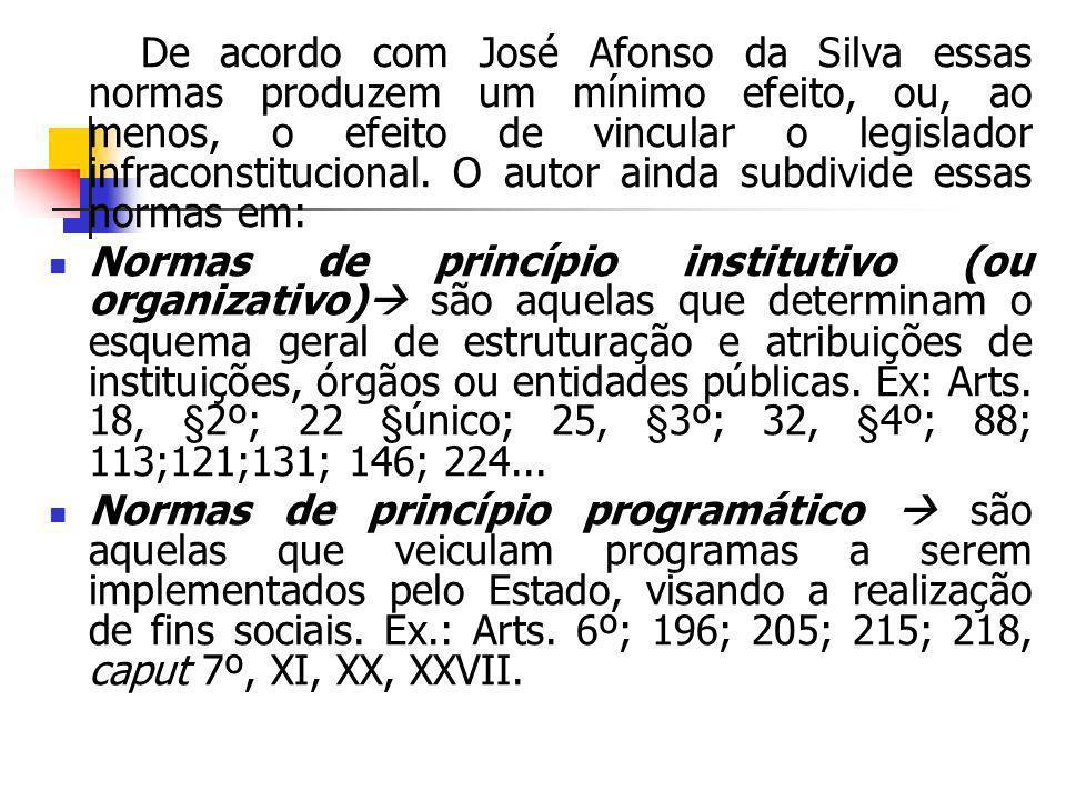 De acordo com José Afonso da Silva essas normas produzem um mínimo efeito, ou, ao menos, o efeito de vincular o legislador infraconstitucional. O autor ainda subdivide essas normas em: